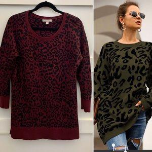 Purple and Black Banana Republic Cheetah Sweater